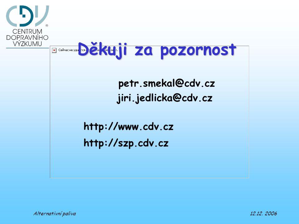 Děkuji za pozornost petr.smekal@cdv.cz jiri.jedlicka@cdv.cz http://www.cdv.cz http://szp.cdv.cz Alternativní paliva 12.12. 2006