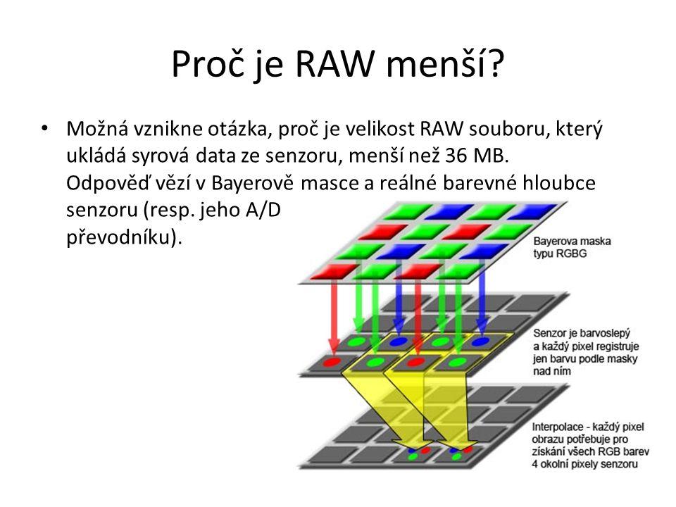 Proč je RAW menší? Možná vznikne otázka, proč je velikost RAW souboru, který ukládá syrová data ze senzoru, menší než 36 MB. Odpověď vězí v Bayerově m