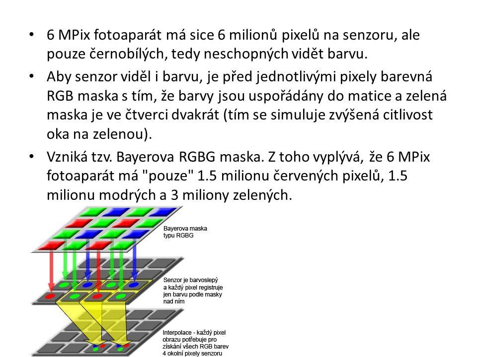 6 MPix fotoaparát má sice 6 milionů pixelů na senzoru, ale pouze černobílých, tedy neschopných vidět barvu. Aby senzor viděl i barvu, je před jednotli