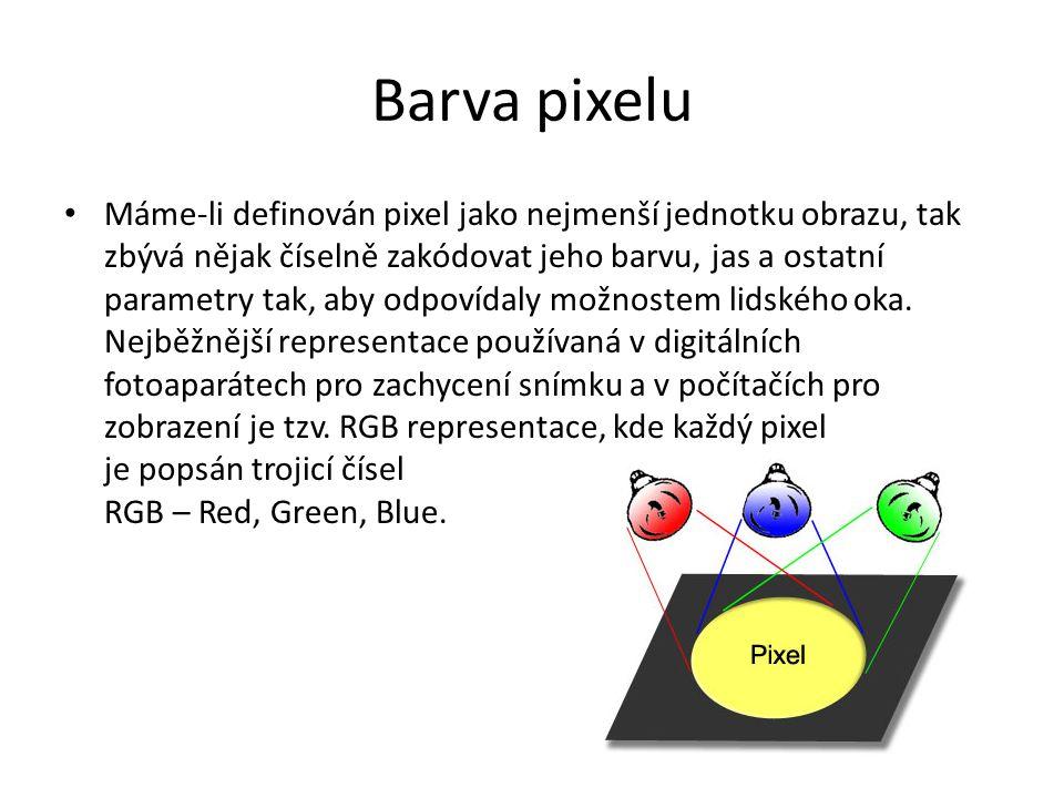 Barevná hloubka Barva každého pixelu v RGB representaci je zakódována 3 čísly, které vyjadřují jas jeho červené (Red), zelené (Green) a modré (Blue) složky.