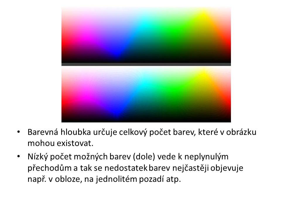 Barevná hloubka určuje celkový počet barev, které v obrázku mohou existovat. Nízký počet možných barev (dole) vede k neplynulým přechodům a tak se ned