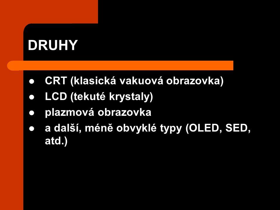 DRUHY CRT (klasická vakuová obrazovka) LCD (tekuté krystaly) plazmová obrazovka a další, méně obvyklé typy (OLED, SED, atd.)
