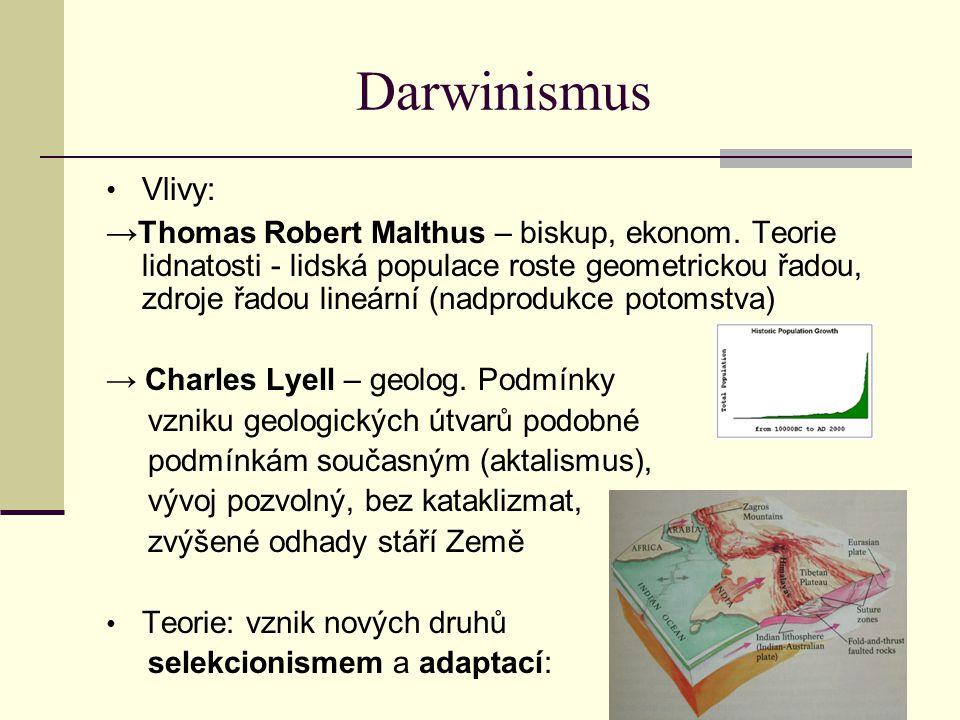 Darwinismus Vlivy: → Thomas Robert Malthus – biskup, ekonom. Teorie lidnatosti - lidská populace roste geometrickou řadou, zdroje řadou lineární (nadp