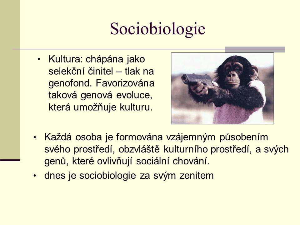 Sociobiologie Každá osoba je formována vzájemným působením svého prostředí, obzvláště kulturního prostředí, a svých genů, které ovlivňují sociální cho