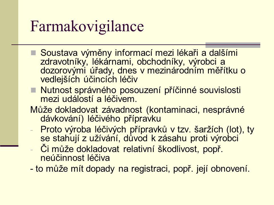 Farmakovigilance Soustava výměny informací mezi lékaři a dalšími zdravotníky, lékárnami, obchodníky, výrobci a dozorovými úřady, dnes v mezinárodním m