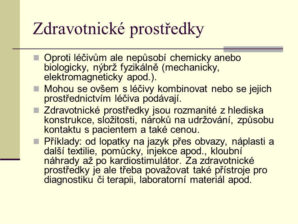 Zdravotnické prostředky Oproti léčivům ale nepůsobí chemicky anebo biologicky, nýbrž fyzikálně (mechanicky, elektromagneticky apod.). Mohou se ovšem s