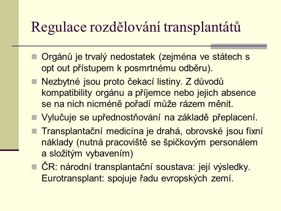 Regulace rozdělování transplantátů Orgánů je trvalý nedostatek (zejména ve státech s opt out přístupem k posmrtnému odběru). Nezbytné jsou proto čekac