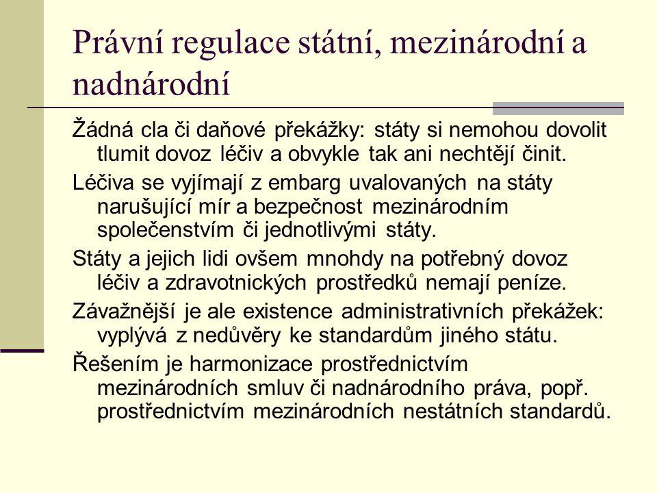 Právní regulace státní, mezinárodní a nadnárodní Žádná cla či daňové překážky: státy si nemohou dovolit tlumit dovoz léčiv a obvykle tak ani nechtějí