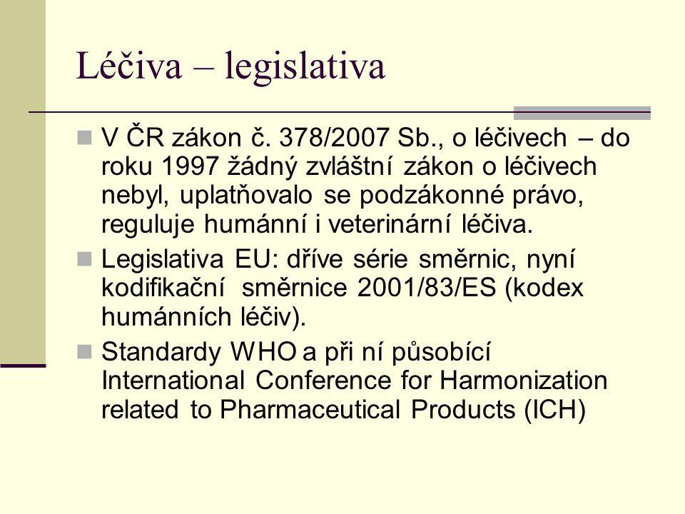 Léčiva – legislativa V ČR zákon č. 378/2007 Sb., o léčivech – do roku 1997 žádný zvláštní zákon o léčivech nebyl, uplatňovalo se podzákonné právo, reg