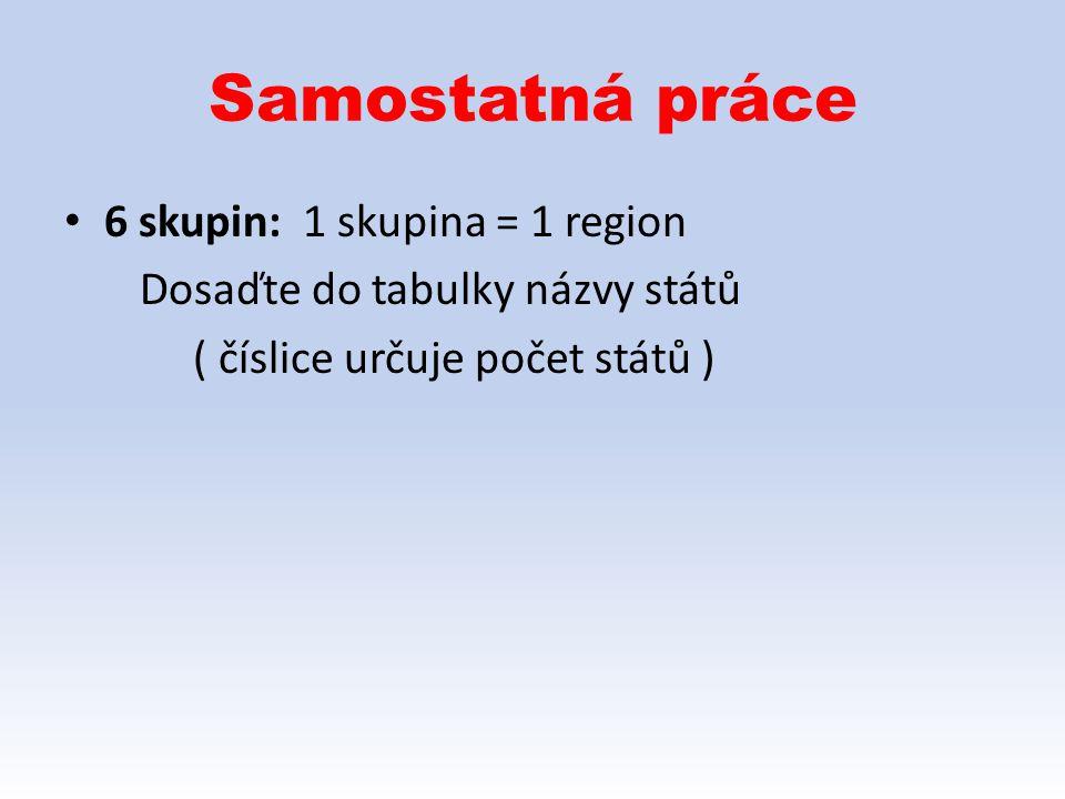 Samostatná práce 6 skupin: 1 skupina = 1 region Dosaďte do tabulky názvy států ( číslice určuje počet států )