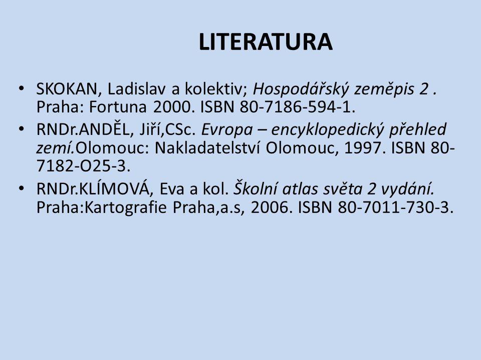 LITERATURA SKOKAN, Ladislav a kolektiv; Hospodářský zeměpis 2.