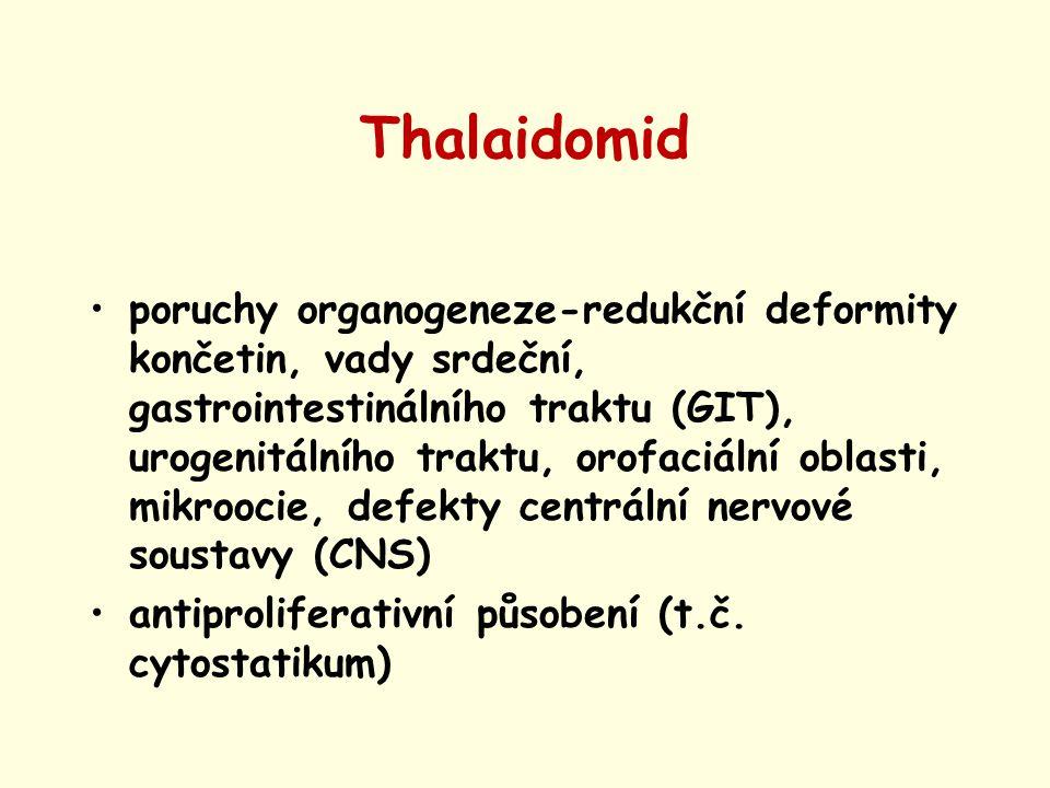 Thalaidomid poruchy organogeneze-redukční deformity končetin, vady srdeční, gastrointestinálního traktu (GIT), urogenitálního traktu, orofaciální obla