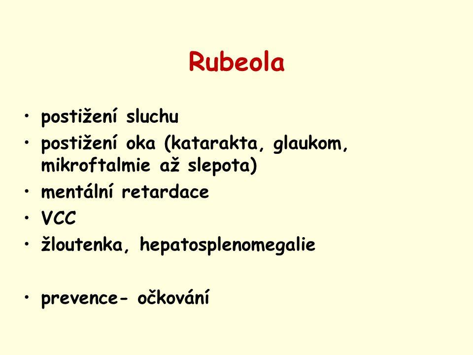 Rubeola postižení sluchu postižení oka (katarakta, glaukom, mikroftalmie až slepota) mentální retardace VCC žloutenka, hepatosplenomegalie prevence- o