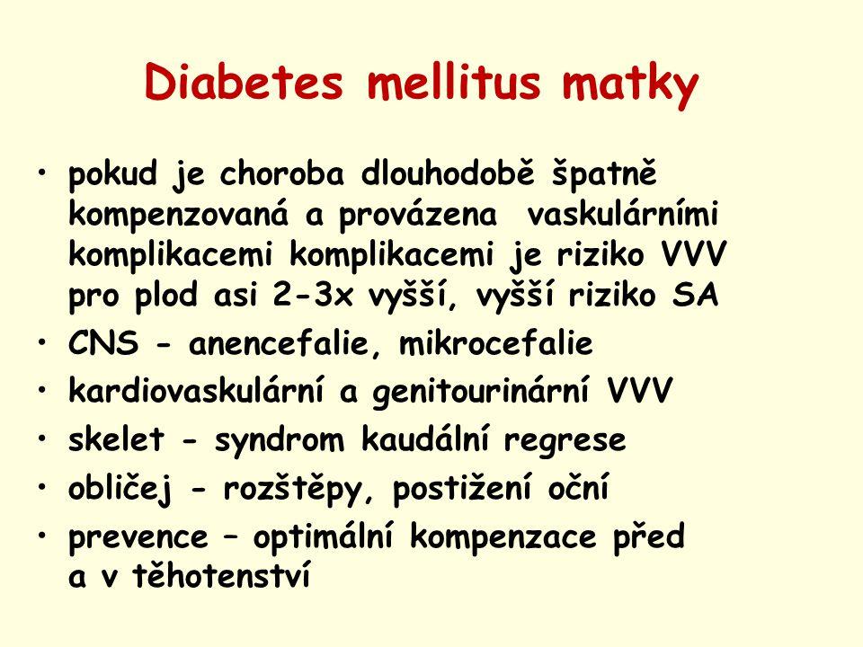 Diabetes mellitus matky pokud je choroba dlouhodobě špatně kompenzovaná a provázena vaskulárními komplikacemi komplikacemi je riziko VVV pro plod asi