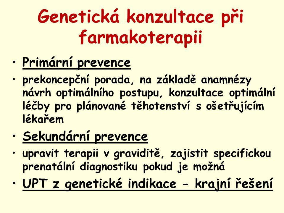 Genetická konzultace při farmakoterapii Primární prevence prekoncepční porada, na základě anamnézy návrh optimálního postupu, konzultace optimální léč