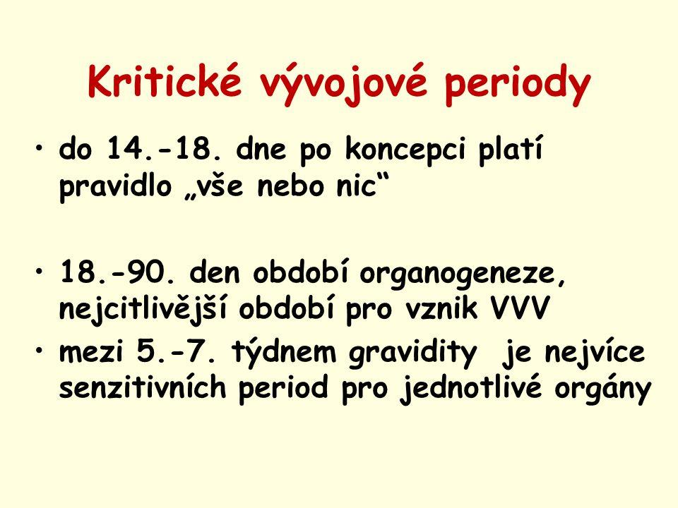 """Kritické vývojové periody do 14.-18. dne po koncepci platí pravidlo """"vše nebo nic"""" 18.-90. den období organogeneze, nejcitlivější období pro vznik VVV"""