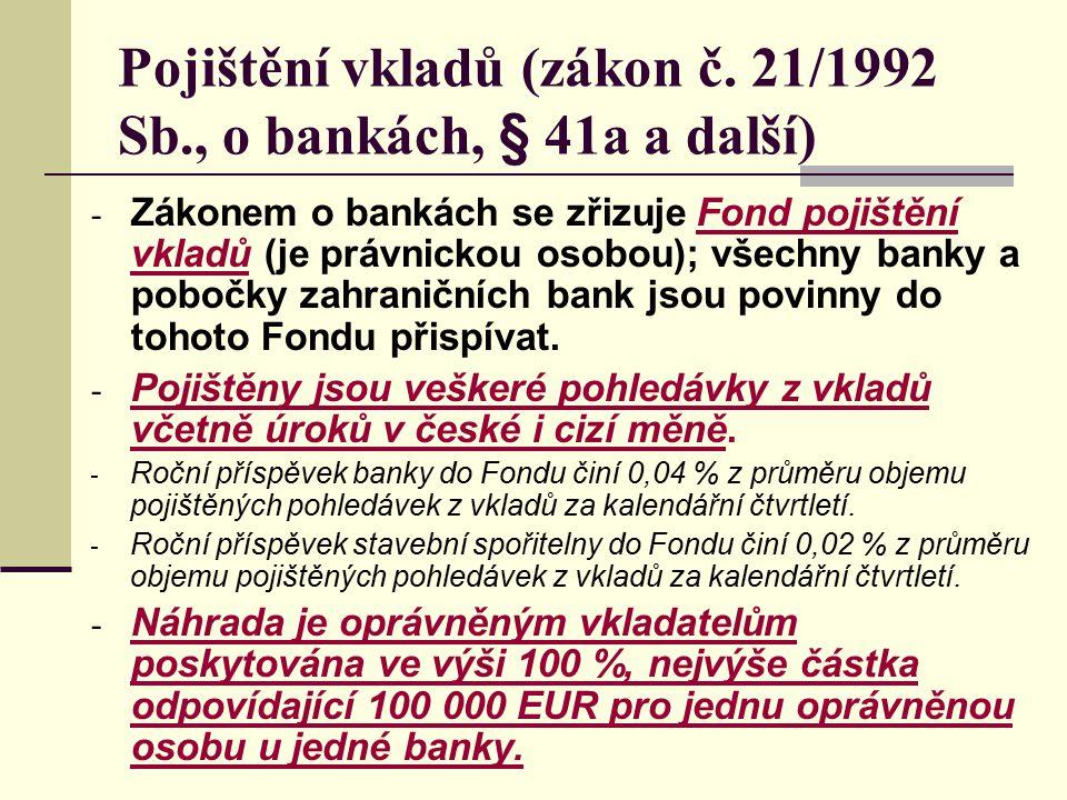 Pojištění vkladů (zákon č. 21/1992 Sb., o bankách, § 41a a další) - Zákonem o bankách se zřizuje Fond pojištění vkladů (je právnickou osobou); všechny