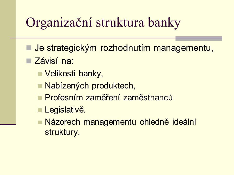 Organizační struktura banky Je strategickým rozhodnutím managementu, Závisí na: Velikosti banky, Nabízených produktech, Profesním zaměření zaměstnanců