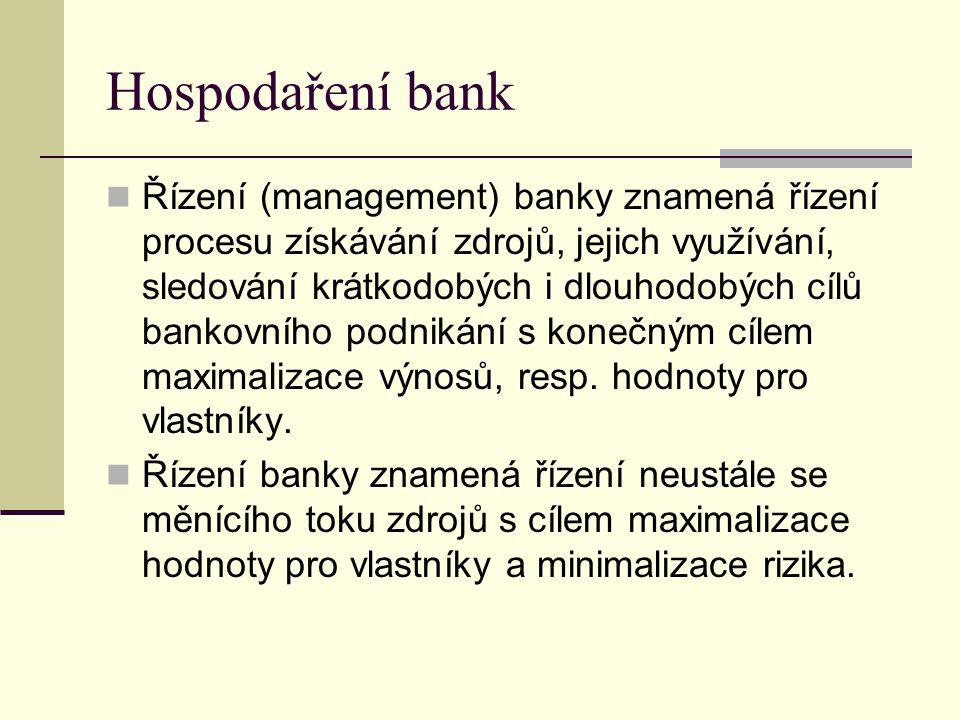 Hospodaření bank Řízení (management) banky znamená řízení procesu získávání zdrojů, jejich využívání, sledování krátkodobých i dlouhodobých cílů banko