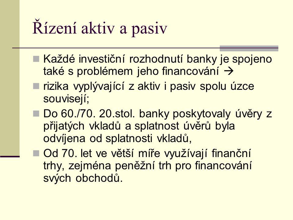 Řízení aktiv a pasiv Každé investiční rozhodnutí banky je spojeno také s problémem jeho financování  rizika vyplývající z aktiv i pasiv spolu úzce so