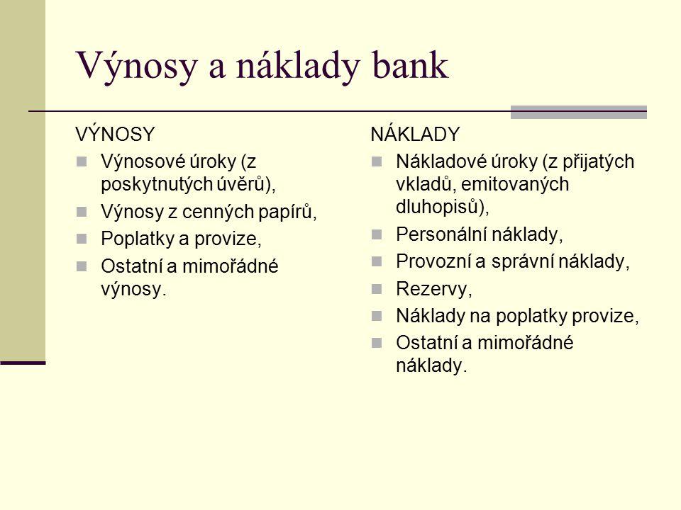 Výnosy a náklady bank VÝNOSY Výnosové úroky (z poskytnutých úvěrů), Výnosy z cenných papírů, Poplatky a provize, Ostatní a mimořádné výnosy. NÁKLADY N