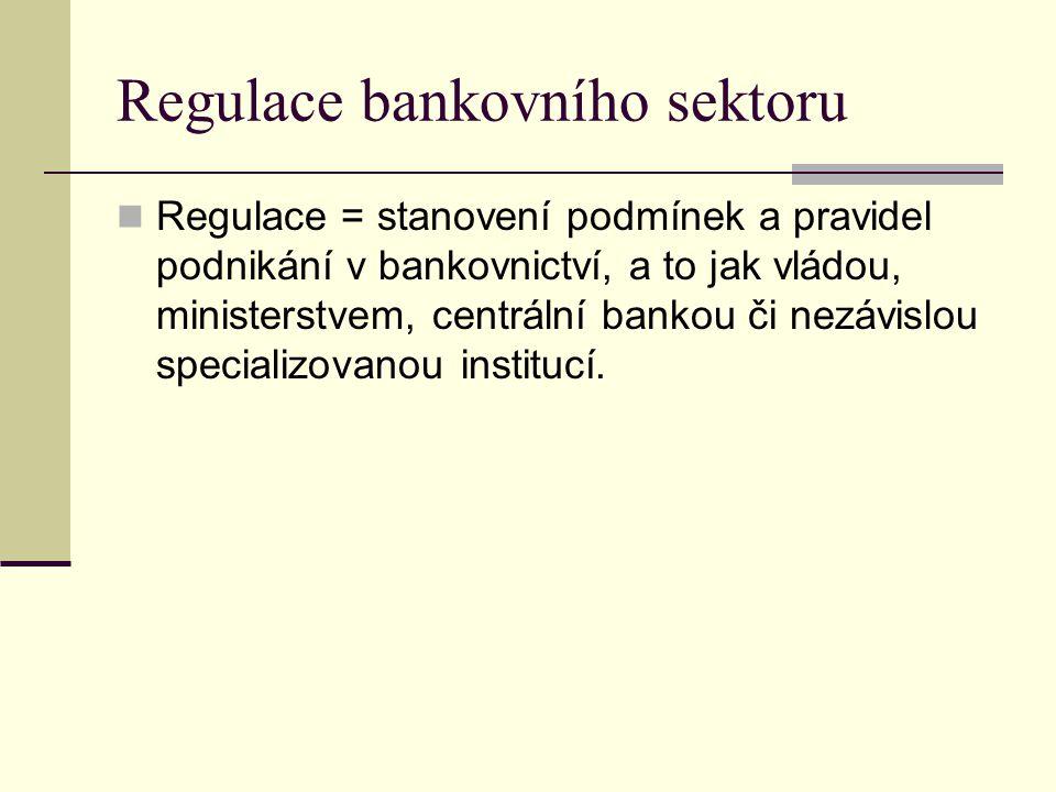 Regulace = stanovení podmínek a pravidel podnikání v bankovnictví, a to jak vládou, ministerstvem, centrální bankou či nezávislou specializovanou inst