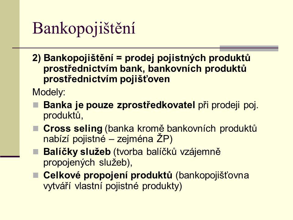 Bankopojištění 2) Bankopojištění = prodej pojistných produktů prostřednictvím bank, bankovních produktů prostřednictvím pojišťoven Modely: Banka je po