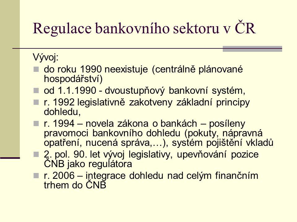 Regulace bankovního sektoru v ČR Vývoj: do roku 1990 neexistuje (centrálně plánované hospodářství) od 1.1.1990 - dvoustupňový bankovní systém, r. 1992