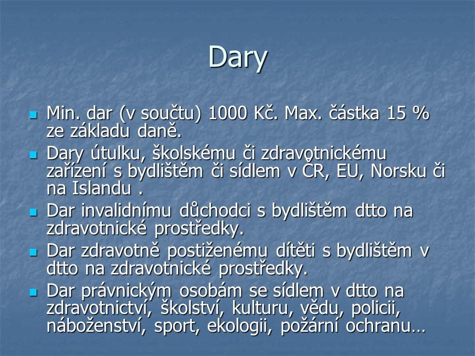 Dary Min. dar (v součtu) 1000 Kč. Max. částka 15 % ze základu daně. Min. dar (v součtu) 1000 Kč. Max. částka 15 % ze základu daně. Dary útulku, školsk