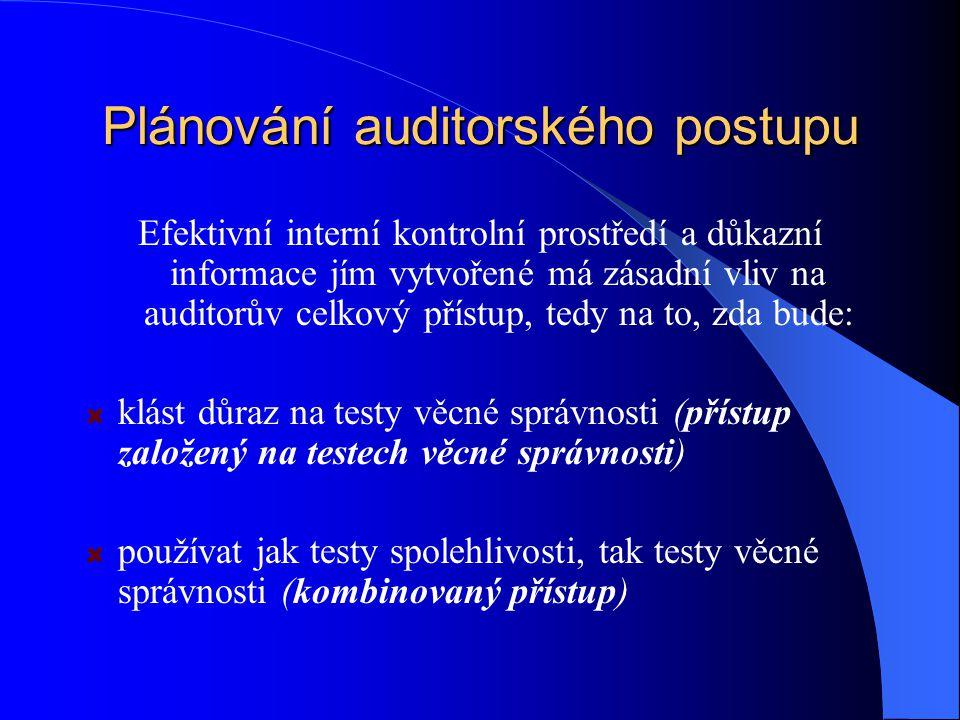 Plánování auditorského postupu Efektivní interní kontrolní prostředí a důkazní informace jím vytvořené má zásadní vliv na auditorův celkový přístup, tedy na to, zda bude: klást důraz na testy věcné správnosti (přístup založený na testech věcné správnosti) používat jak testy spolehlivosti, tak testy věcné správnosti (kombinovaný přístup)