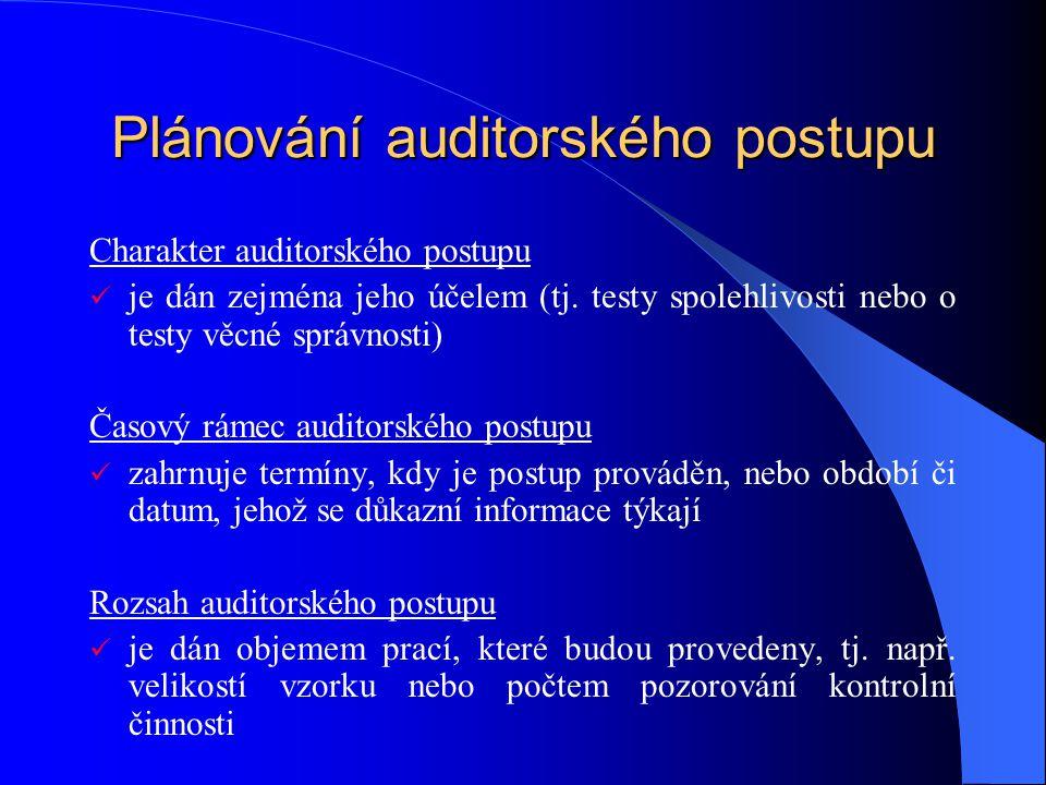 Plánování auditorského postupu Charakter auditorského postupu je dán zejména jeho účelem (tj.