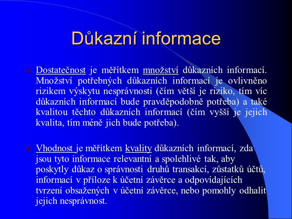 Důkazní informace Dostatečnost je měřítkem množství důkazních informací.