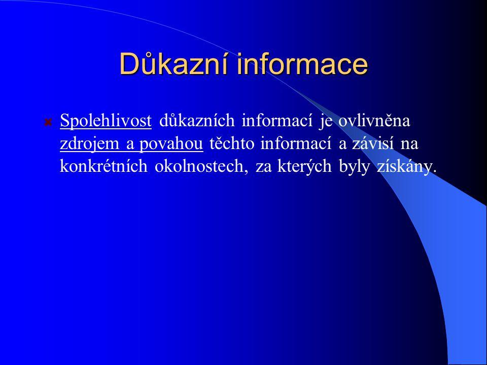 Důkazní informace Spolehlivost důkazních informací je ovlivněna zdrojem a povahou těchto informací a závisí na konkrétních okolnostech, za kterých byly získány.