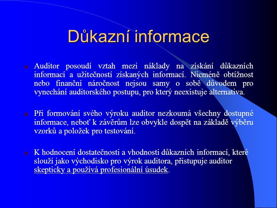 Důkazní informace Auditor posoudí vztah mezi náklady na získání důkazních informací a užitečností získaných informací.