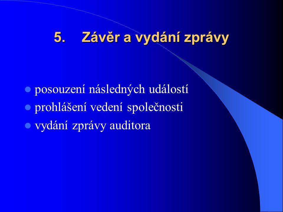 5. Závěr a vydání zprávy posouzení následných událostí prohlášení vedení společnosti vydání zprávy auditora