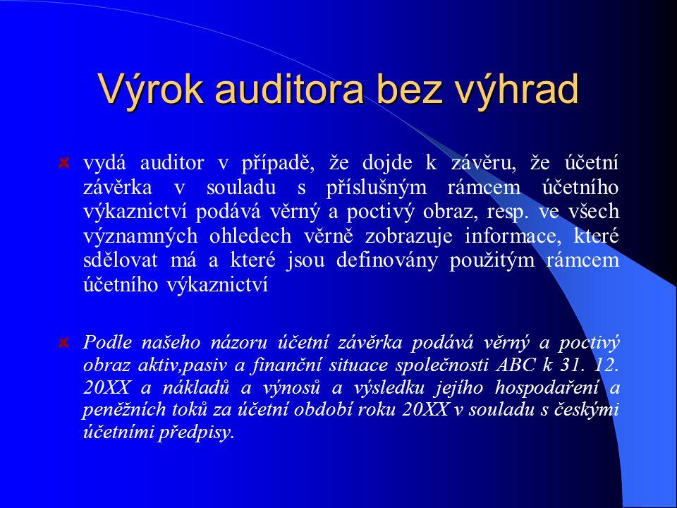 Výrok auditora bez výhrad vydá auditor v případě, že dojde k závěru, že účetní závěrka v souladu s příslušným rámcem účetního výkaznictví podává věrný a poctivý obraz, resp.