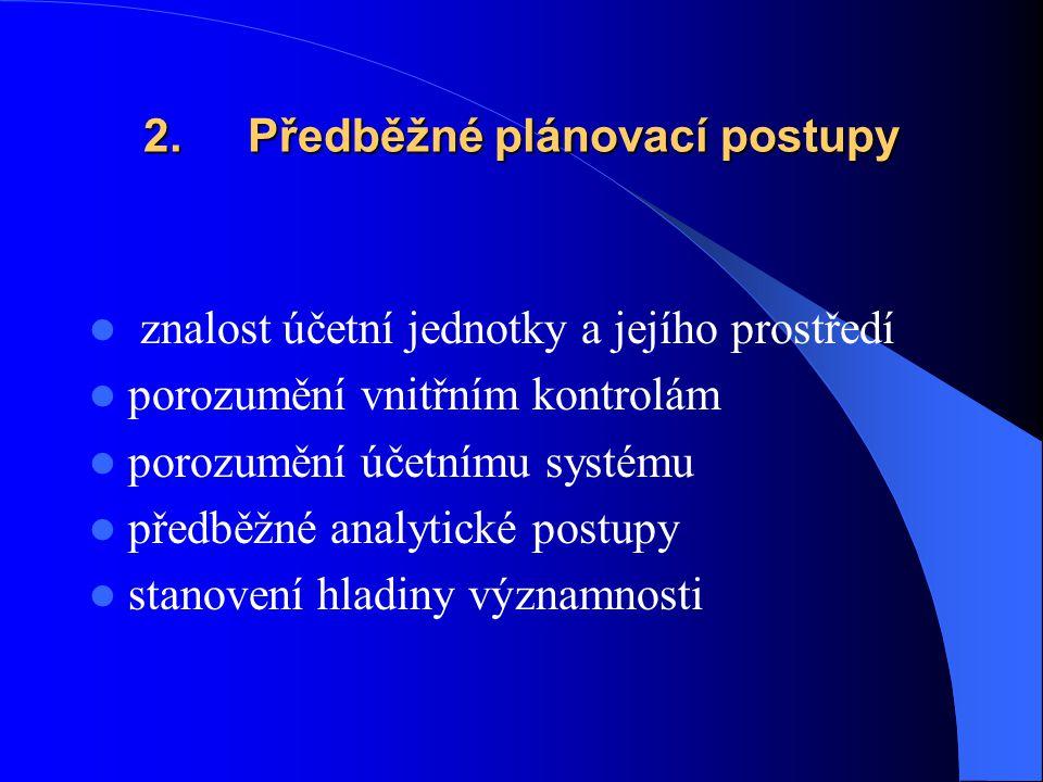 2. Předběžné plánovací postupy znalost účetní jednotky a jejího prostředí porozumění vnitřním kontrolám porozumění účetnímu systému předběžné analytic