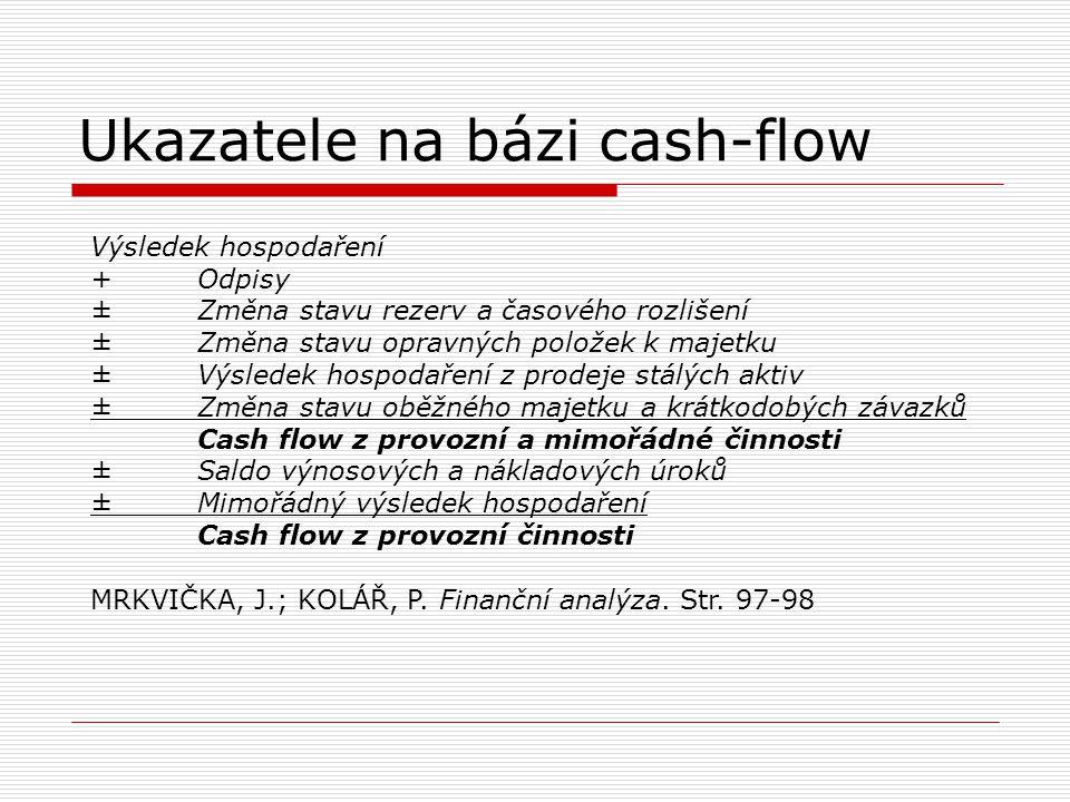 Ukazatele na bázi cash-flow Výsledek hospodaření +Odpisy ±Změna stavu rezerv a časového rozlišení ±Změna stavu opravných položek k majetku ±Výsledek h