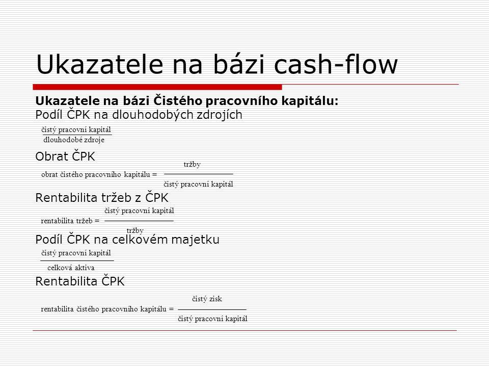 Ukazatele na bázi cash-flow Ukazatele na bázi Čistého pracovního kapitálu: Podíl ČPK na dlouhodobých zdrojích Obrat ČPK Rentabilita tržeb z ČPK Podíl