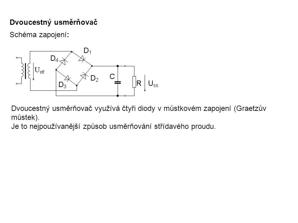 Dvoucestný usměrňovač Schéma zapojení: Dvoucestný usměrňovač využívá čtyři diody v můstkovém zapojení (Graetzův můstek). Je to nejpoužívanější způsob