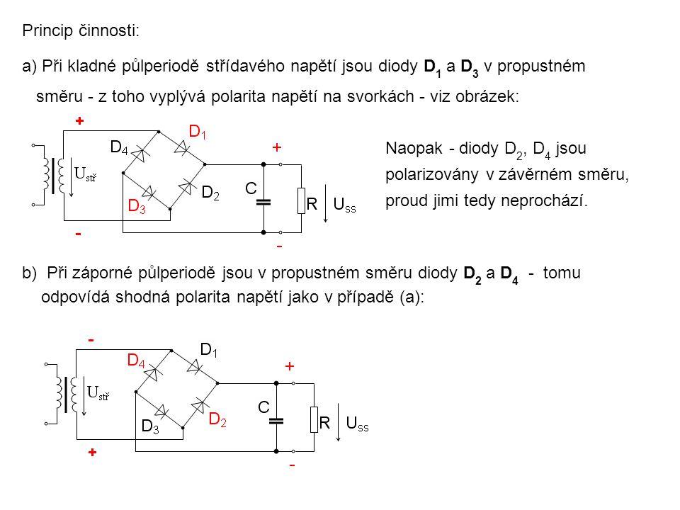 Princip činnosti: a)Při kladné půlperiodě střídavého napětí jsou diody D 1 a D 3 v propustném směru - z toho vyplývá polarita napětí na svorkách - viz