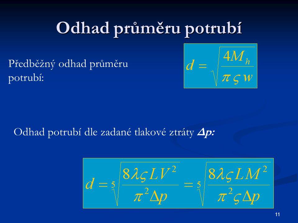 11 Odhad průměru potrubí Předběžný odhad průměru potrubí: Odhad potrubí dle zadané tlakové ztráty Δp:
