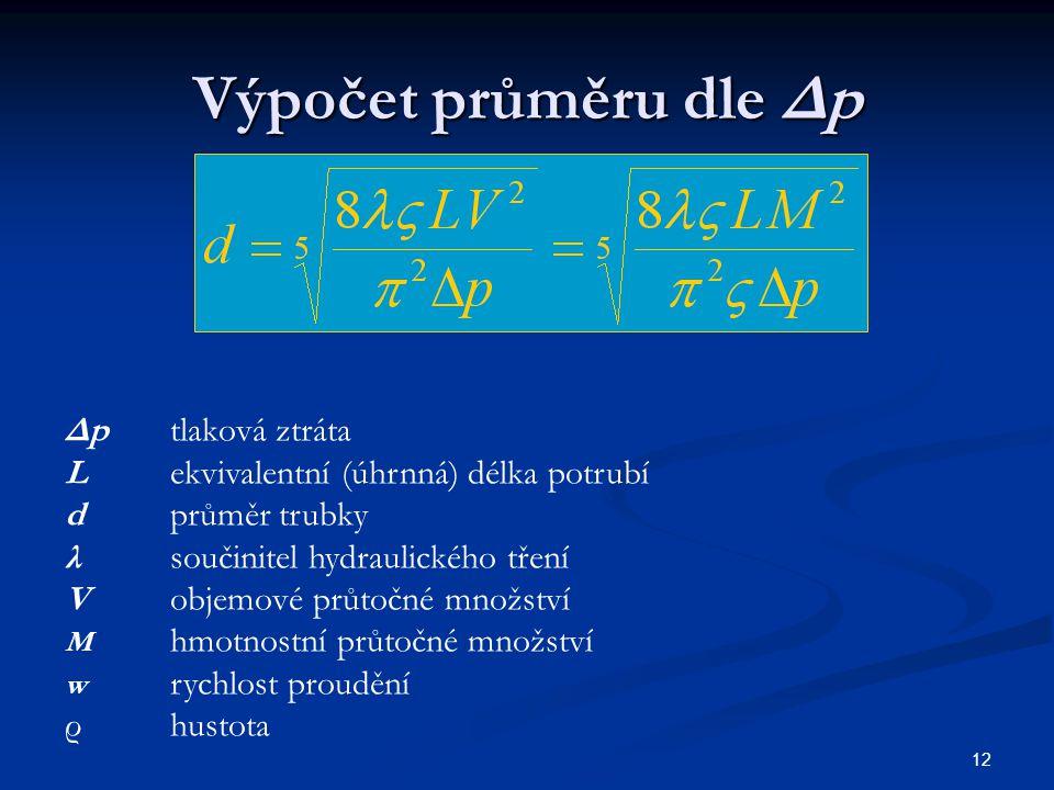Výpočet průměru dle Δp 12 Δp tlaková ztráta Lekvivalentní (úhrnná) délka potrubí dprůměr trubky λsoučinitel hydraulického tření Vobjemové průtočné mno