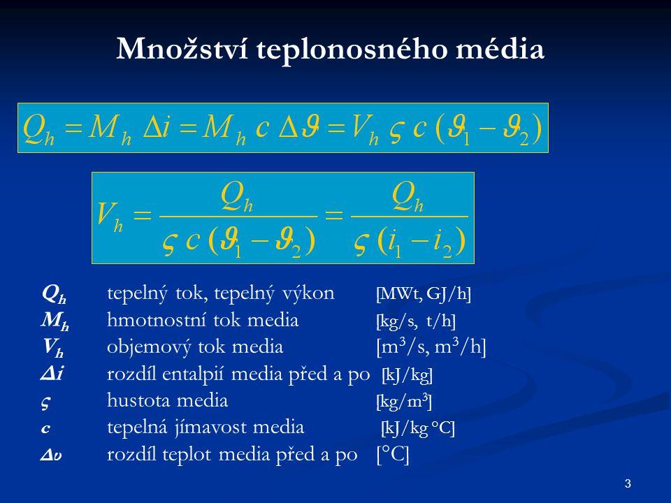 3 Množství teplonosného média Q h tepelný tok, tepelný výkon [MWt, GJ/h] M h hmotnostní tok media [kg/s, t/h] V h objemový tok media [m 3 /s, m 3 /h]