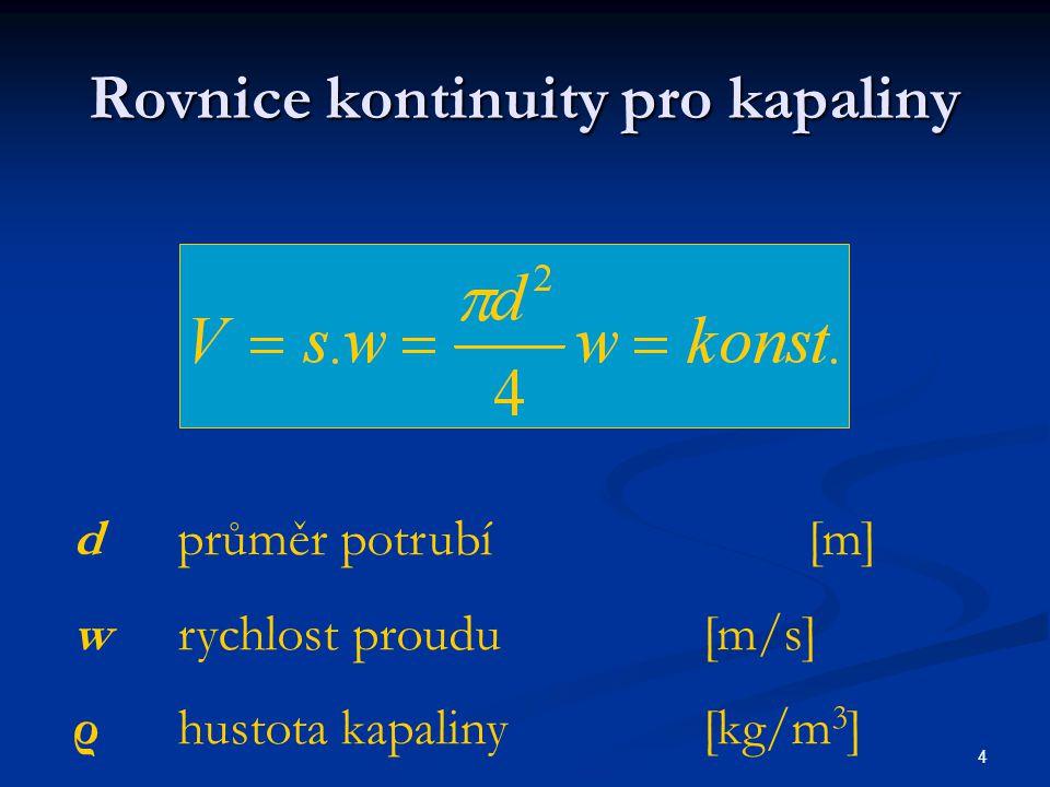 5 Bernouliho rovnice v diferenciálním tvaru dp + w dw ρ + dh + dh z = 0 p tlak[Pa] hvýška [m] h z ztrátová výška odpovídající tlakovým ztrátám způsobeným třením v potrubí[m]