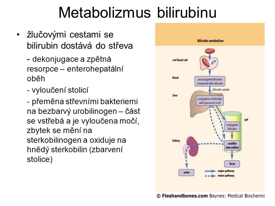 Novorozenecká hyperbilirubinemie fyziologická novorozenecká žloutenka (icterus neonatorum) - zvýšený zánik erytrocytů - nedokonalé jaterní konjugační a transportní systémy - zvýšené vstřebávání bilirubinu a jeho snížená vazba na albumin - nekonjugovaná hyperbilirubinémie - vrchol v prvních pěti dnech, téměř u poloviny novorozenců hemolytická nemoc novorozenců - inkompatibilita mezi matkou Rh- a plodem Rh+ - tvorba protilátek – hemolýza, žloutenka už během prvních dvou dnů života, může se vyvinout kernikterus kernikterus (jádrový ikterus) - u dětí předčasně narozených, s hemolytickou nemocí a s novorozeneckou hepatitidou - výrazné zvýšení koncentrace bilirubinu v krvi – proniká přes hematoencefalickou bariéru – poškození bazálních ganglií