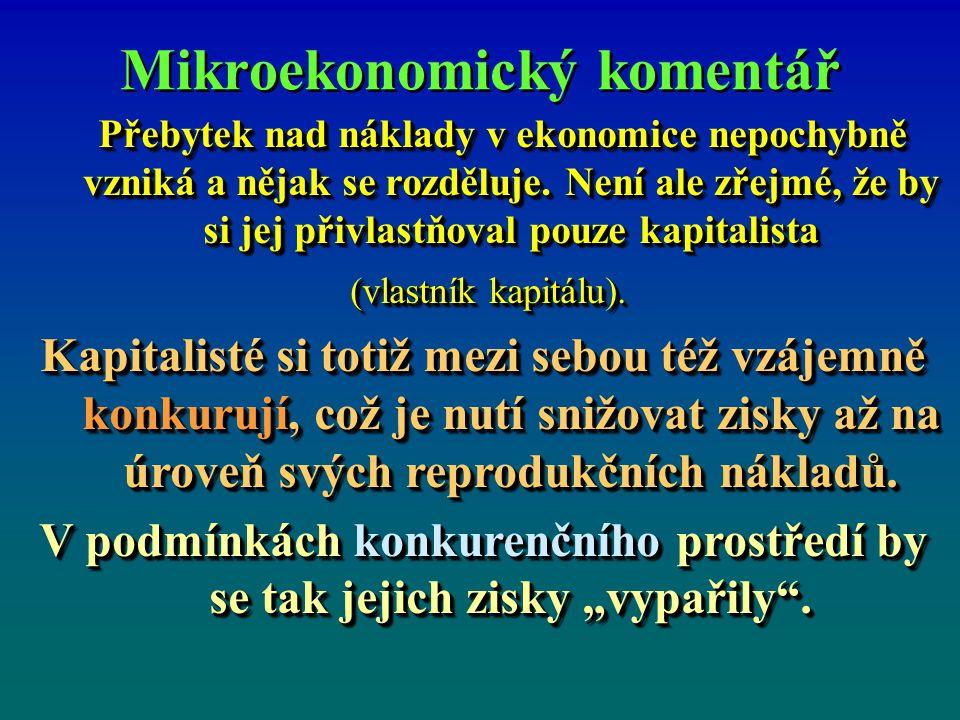 Mikroekonomický komentář Přebytek nad náklady v ekonomice nepochybně vzniká a nějak se rozděluje. Není ale zřejmé, že by si jej přivlastňoval pouze ka