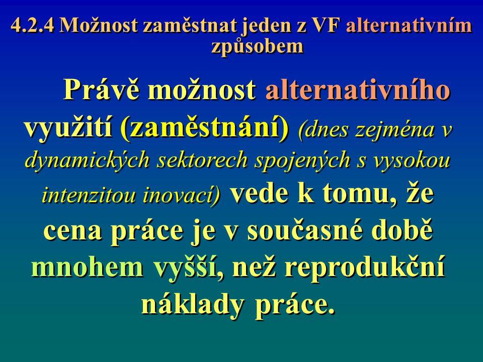 4.2.4 Možnost zaměstnat jeden z VF alternativním způsobem Právě možnost alternativního využití (zaměstnání) (dnes zejména v dynamických sektorech spoj