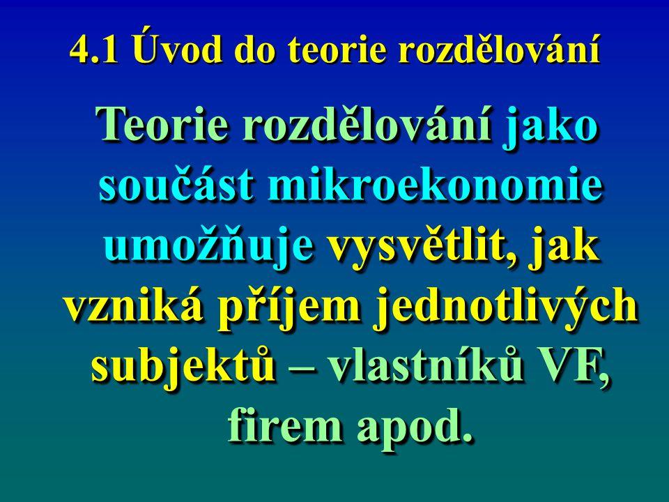 4.1 Úvod do teorie rozdělování Teorie rozdělování jako součást mikroekonomie umožňuje vysvětlit, jak vzniká příjem jednotlivých subjektů – vlastníků V