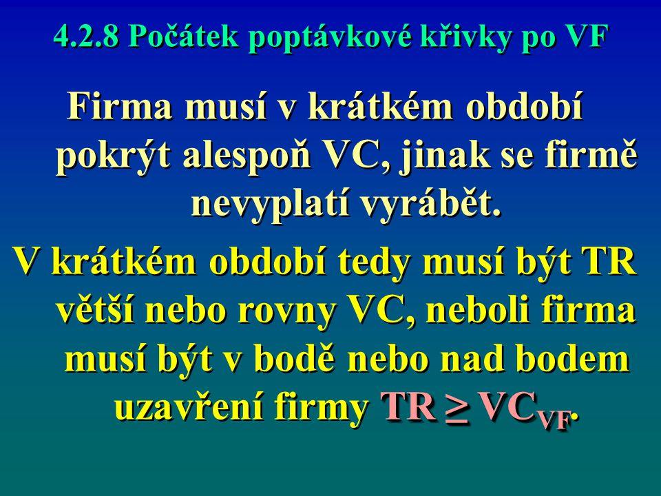4.2.8 Počátek poptávkové křivky po VF Firma musí v krátkém období pokrýt alespoň VC, jinak se firmě nevyplatí vyrábět. TR ≥ VC VF V krátkém období ted